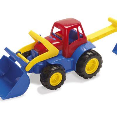 DANTOY Traktor med frontlæsser og grab med gummihjul, sandlegetøj fra dantoy