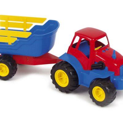 DANTOY Traktor med anhænger og gummihjul