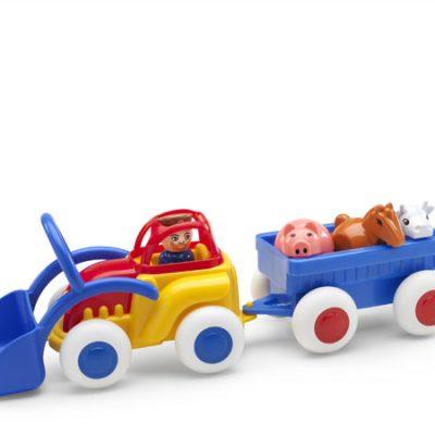 Viking Toys Traktor med anhænger, dyr og bonde