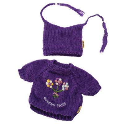 Rubens Barn baby striktrøje og hue lilla