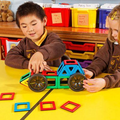 Polydron Magnetsæt med hjul 36 dele, kvalitets legetøj til børn