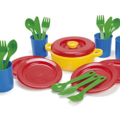 DANTOY Spisestel 22 dele, sandlegetøj til børn fra Dantoy