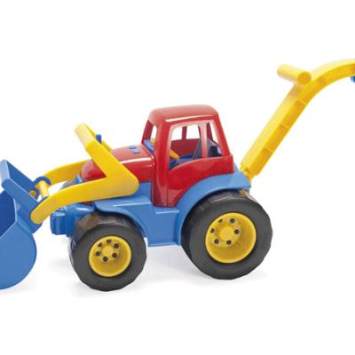 DANTOY Traktor med frontlæsser og grab med plastikhjul