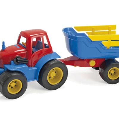 DANTOY Traktor med anhænger med plastikhjul, udelegetøj