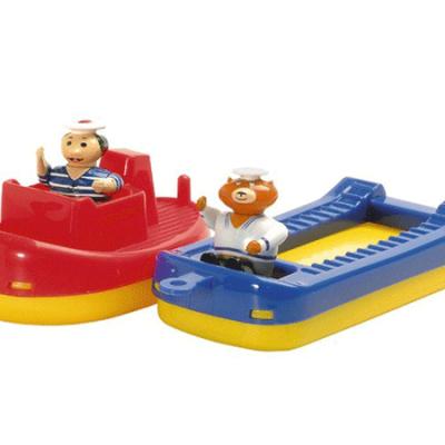 Aquaplay Bugserbåd og pram m. 2 figurer, vandlegetøj til børn, vandleg