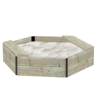 Sandkasse 6-kantet med sæder, træ