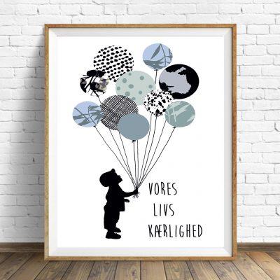 Plakat Boy baloonn danish str. A4
