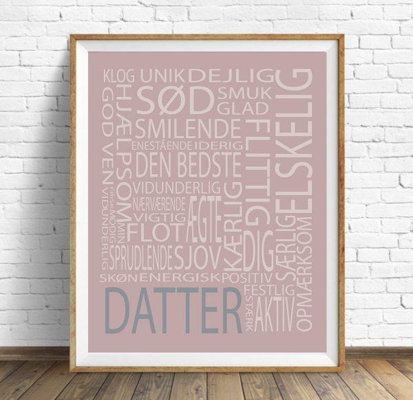 Plakat Text Datter str. A3, plakat til børneværelset