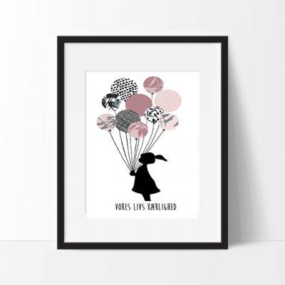 Plakat Girl Baloonn danish str. A3, plakater til børneværelset