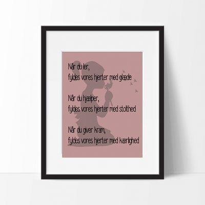 Plakat Girl with text rose str. A3, plakater til børneværelset