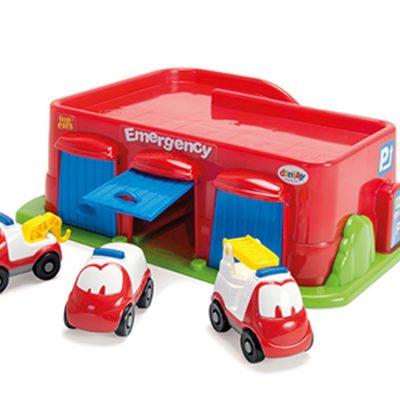 Dantoy garage brandstation med 3 biler