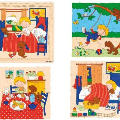 Puslespil 4 lag, i alt 40 brikker, puslespil til børn