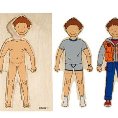 Puslespil træ 3 lag, dreng, puslespil til børn