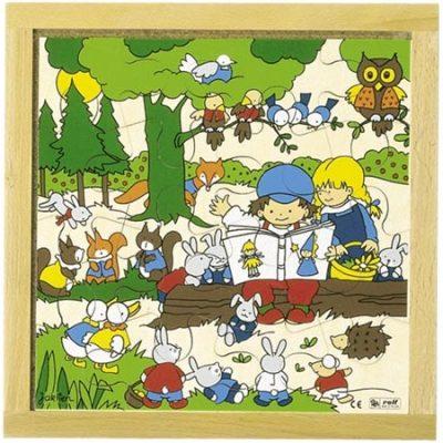 Puslespil træ Dværgkonge 16 brikker, puslespil til børn