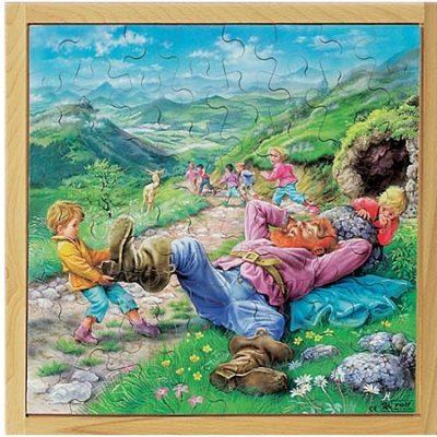 Puslespil træ Tom og Kæmpen 64 brikker, puslespil til børn