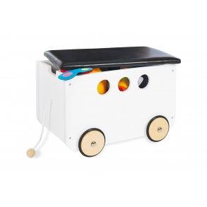 Opbevaringskasse med polstret sæde/låg på hjul, Hvid