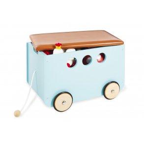 Opbevaringskasse med polstret sæde/låg på hjul, Mint
