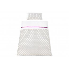 Pinolino vendbar sengetøj til barneseng, 'Punkte', grå, 2 dele