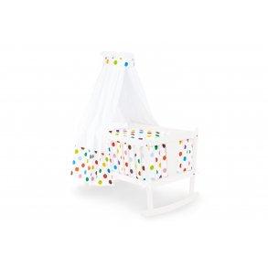 Pinolino Textil udstyr til vugge, 'Dots', hvid, 4 dele